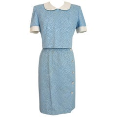 Valentino Light Blue White Cotton Polka Dot Casual Suit Skirt and Shirt