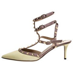 Valentino Light Yellow/Beige Leather Rockstud Ankle Strap Sandals Size 41.5