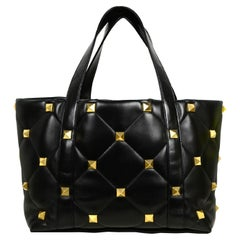 Valentino LIKE NEW Black Leather Roman Stud Quilted Leather Tote Bag rt $4,750