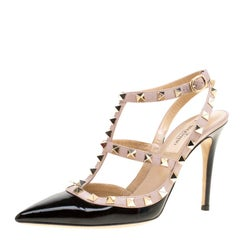 Valentino Lilac/Black Leather Rockstud Sandals Size 36.5