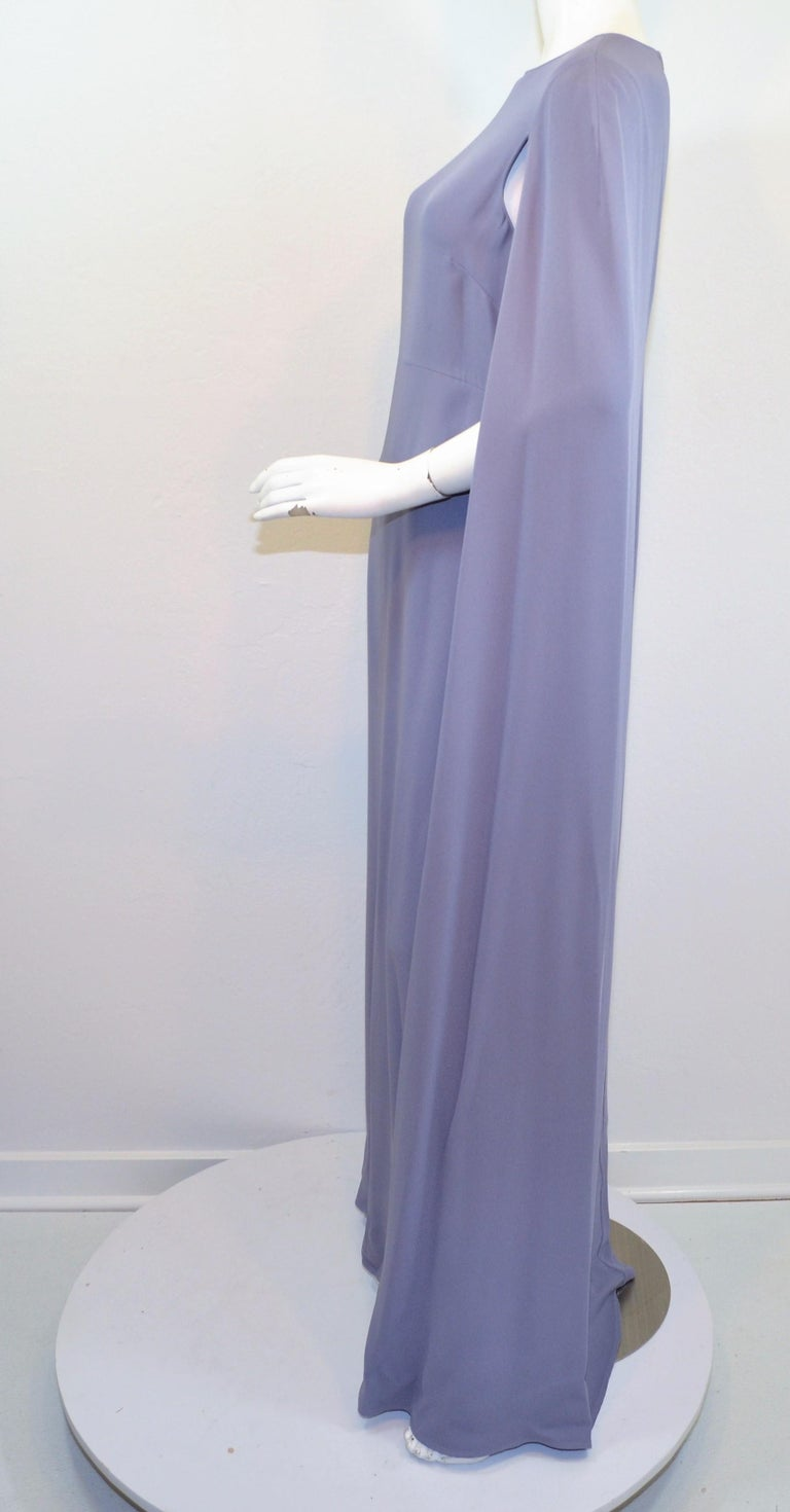 Valentino Lilac Cape Gown  In Excellent Condition For Sale In Carmel by the Sea, CA