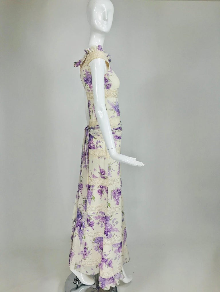 Valentino Lilac Print Silk Crepe Chiffon and Lace Maxi Dress  For Sale 5