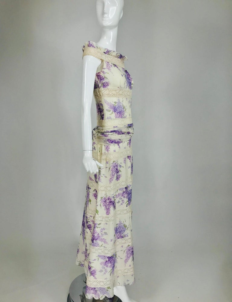 Valentino Lilac Print Silk Crepe Chiffon and Lace Maxi Dress  For Sale 6