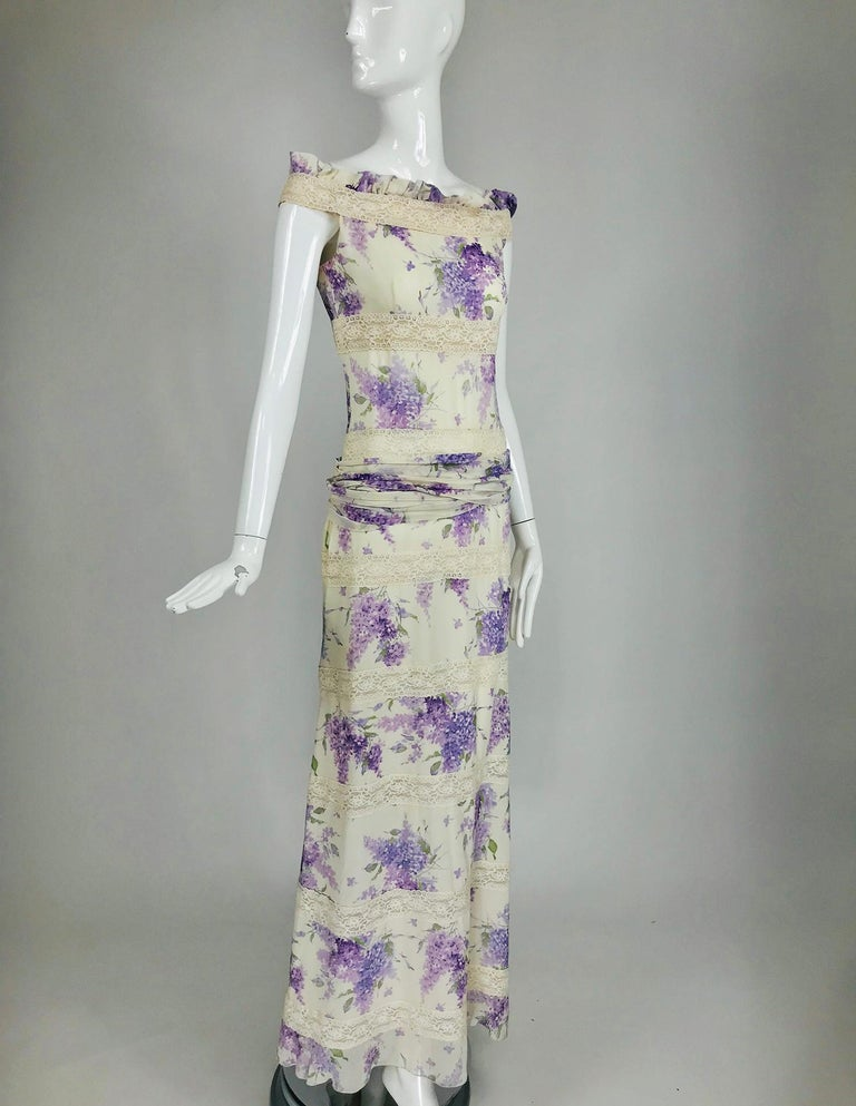Valentino Lilac Print Silk Crepe Chiffon and Lace Maxi Dress  For Sale 7