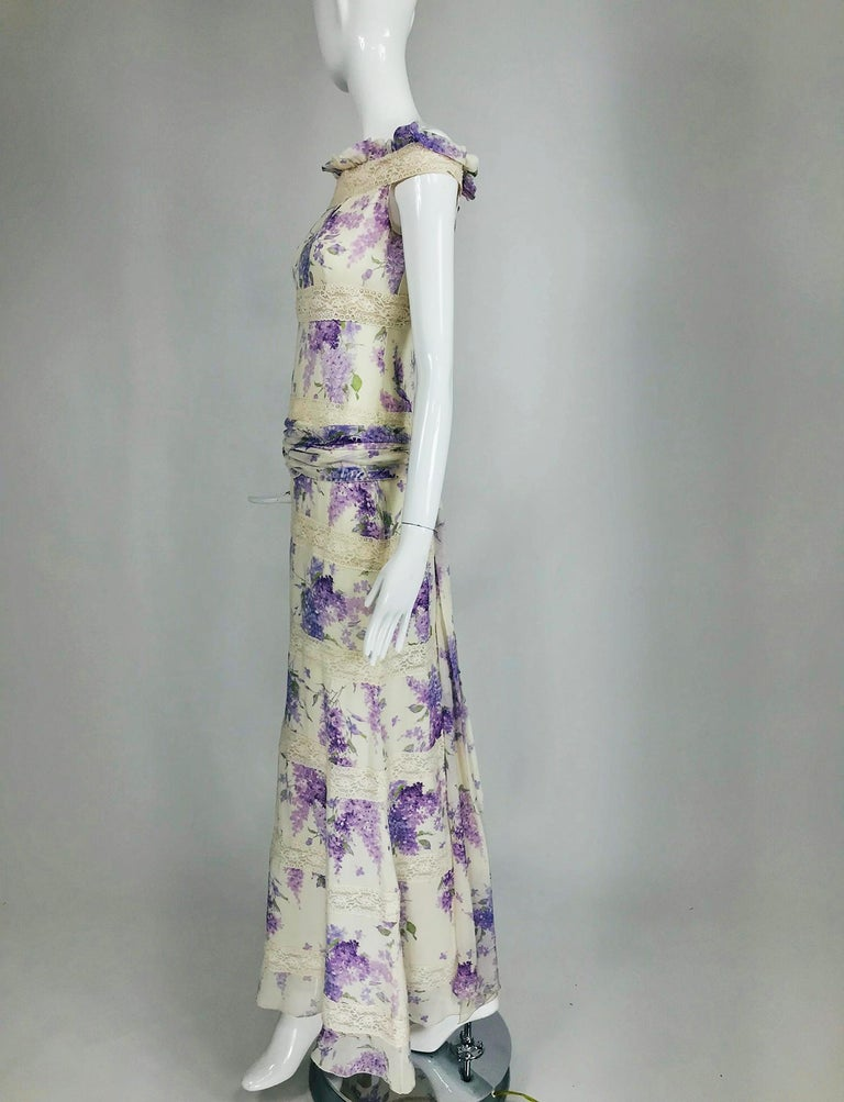 Gray Valentino Lilac Print Silk Crepe Chiffon and Lace Maxi Dress  For Sale