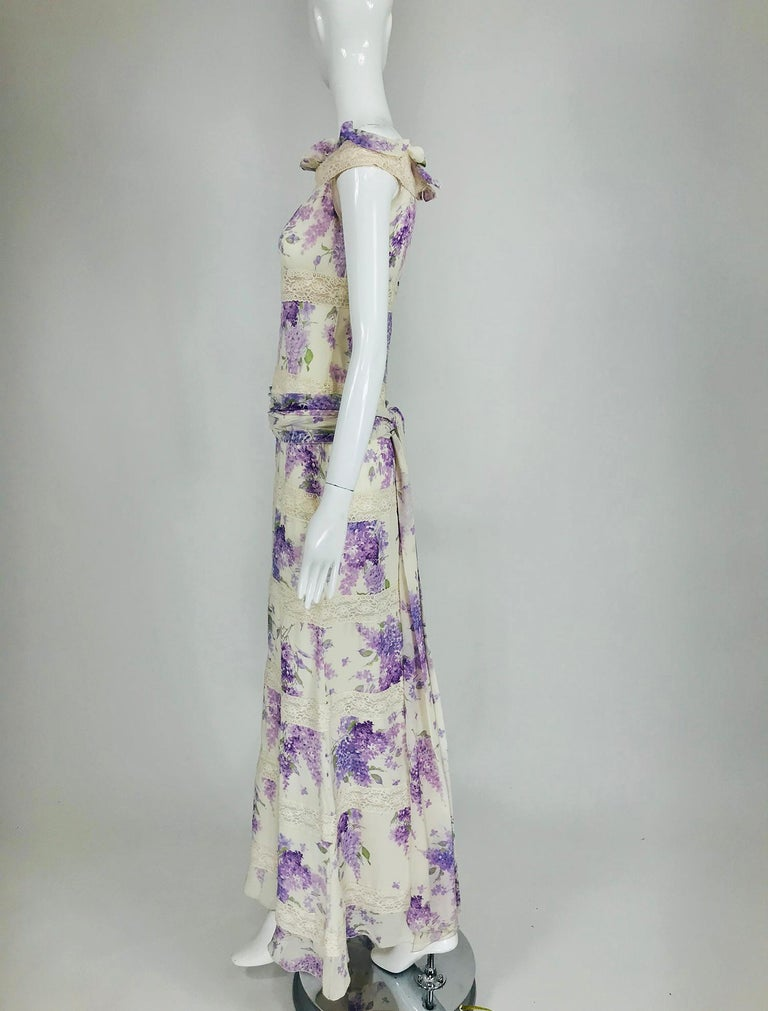 Valentino Lilac Print Silk Crepe Chiffon and Lace Maxi Dress  In Good Condition For Sale In West Palm Beach, FL