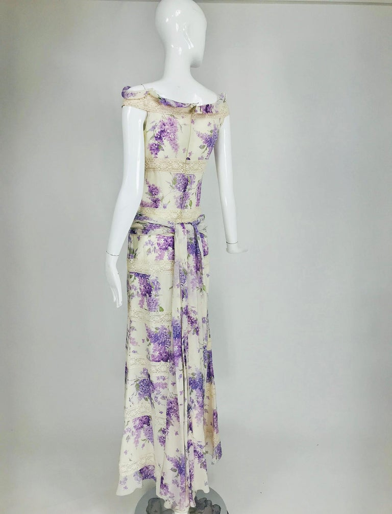 Valentino Lilac Print Silk Crepe Chiffon and Lace Maxi Dress  For Sale 1