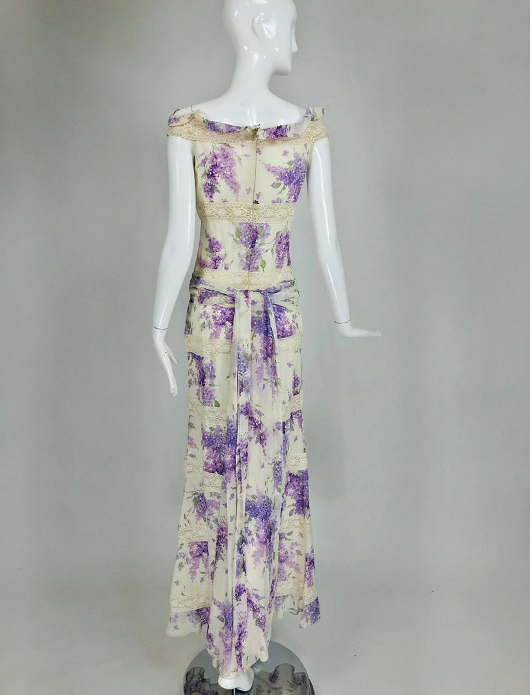 Valentino Lilac Print Silk Crepe Chiffon and Lace Maxi Dress  For Sale 2