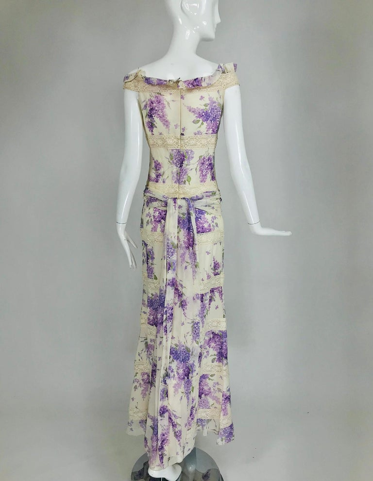 Valentino Lilac Print Silk Crepe Chiffon and Lace Maxi Dress  For Sale 3