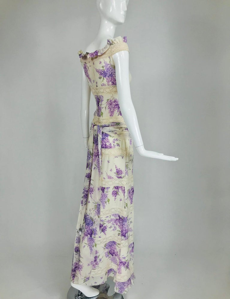 Valentino Lilac Print Silk Crepe Chiffon and Lace Maxi Dress  For Sale 4