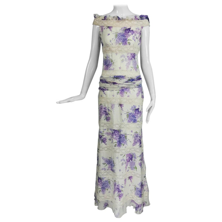 Valentino Lilac Print Silk Crepe Chiffon and Lace Maxi Dress  For Sale