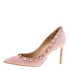 Valentino Lilac Suede and Leather Rockstud Pointed Toe Pumps Size 36.5