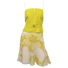 Valentino Lime Green Chiffon Skirt with Camisole Top