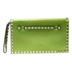 Valentino Lime Green Leather Rockstud Wristlet Clutch