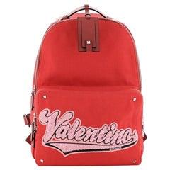 Valentino Logo Backpack Canvas Large