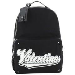Valentino Logo Backpack Canvas with Applique Medium