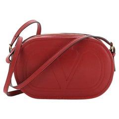 Valentino Logo Crossbody Bag Embossed Leather Small