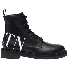 Valentino Logo-Print Leather Combat Boots