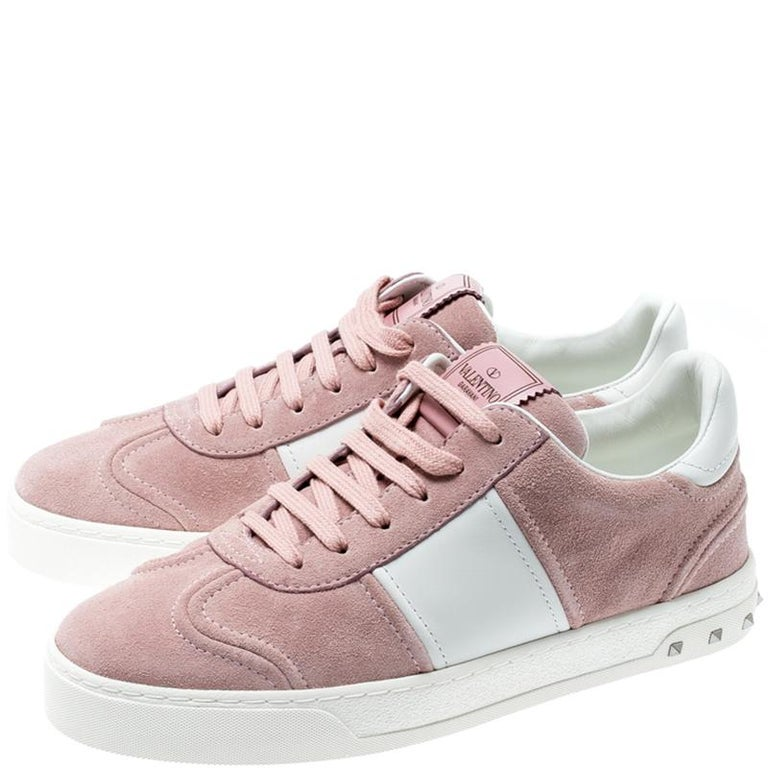 Women's Valentino Loto/Bianco Suede and Leather Flycrew Lace Up Sneakers Size 38
