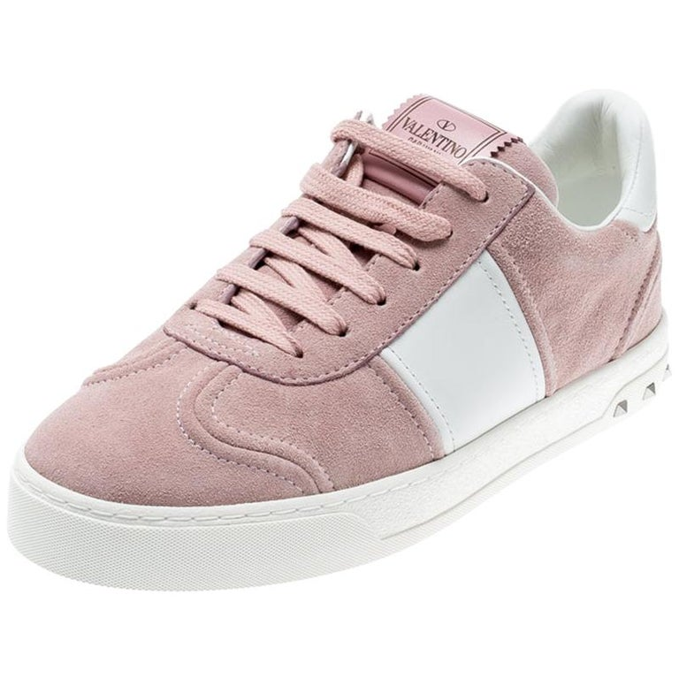Valentino Loto/Bianco Suede and Leather Flycrew Lace Up Sneakers Size 38