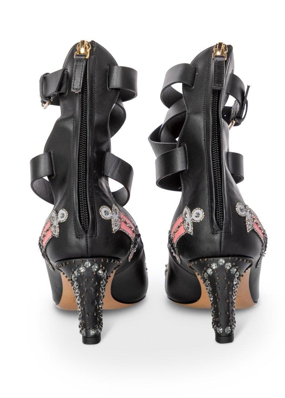 Valentino Love Blade Black Crystal embellished Ankle Strap Pumps Size 37  For Sale 2