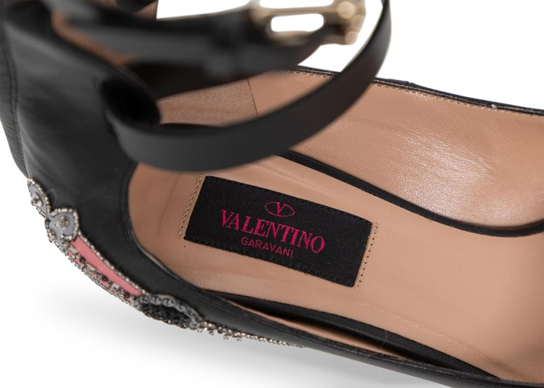 Valentino Love Blade Black Crystal embellished Ankle Strap Pumps Size 37  For Sale 4