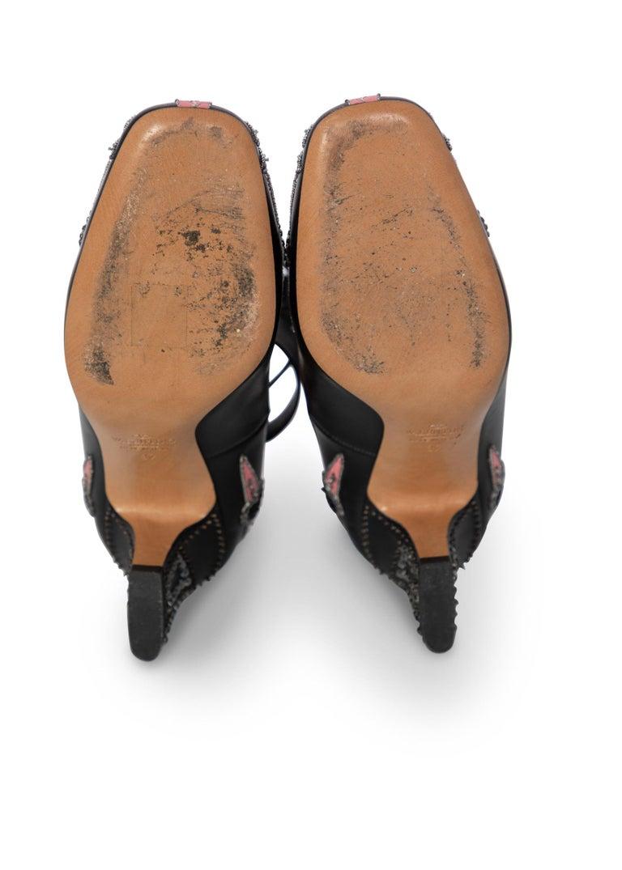 Valentino Love Blade Black Crystal embellished Ankle Strap Pumps Size 37  For Sale 5
