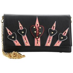 Valentino Love Blade Chain Wallet Leather with Applique and Micro Rockstuds