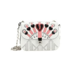 Valentino Love Blade Shoulder Bag Embroidered Leather Small