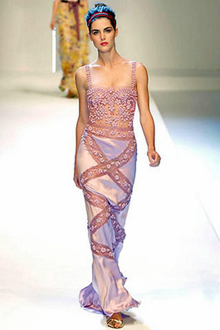 Valentino Hand Embroidered Lilac Runway Evening Gown Dress New! For ...