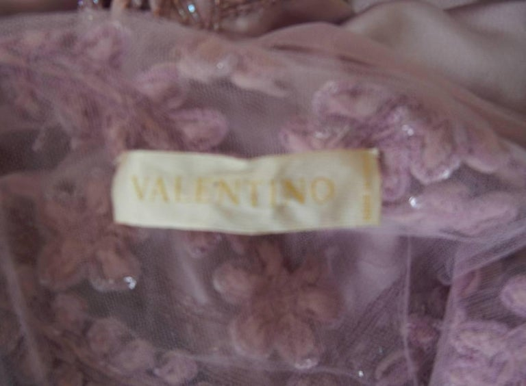 Valentino Hand Embroidered Lilac Runway Evening Gown Dress   New! For Sale 2