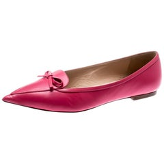 db79efab79af3 Valentino Magenta Leather Pointed Toe Bow Ballet Flats Size 39