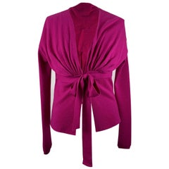 Valentino Magenta Wool Silk Cashmere Cardigan with Bow Size M