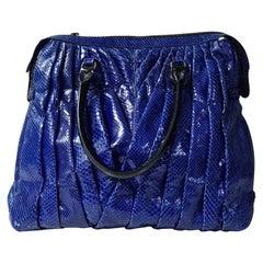 Valentino Maison Blue Python Patent Leather Tote