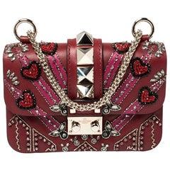 Valentino Maroon Beads Mini Love Blade Rockstud Glam Lock Shoulder Bag