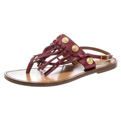Valentino Maroon Leather Fringed Coin Detail Thong Sandals Size 37.5