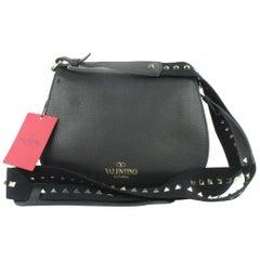 Valentino Messenger Rockstud Strap Flap 14mz1016 Black Leather Cross Body Bag
