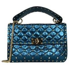 Valentino Metallic Blue Medium Rockstud Spike Flap Crossbody/Shoulder Bag