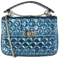 VALENTINO metallic blue quilted leather ROCKSTUD SPIKE MEDIUM Shoulder Bag
