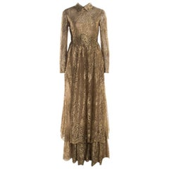 Valentino Metallic Gold Floral Lace Studded Leather Collar Detail Gown M