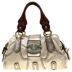 Valentino Metallic Gold Leather Crystal Catch Satchel