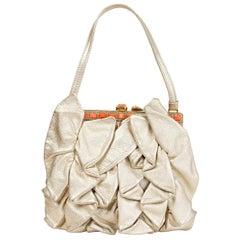 VALENTINO metallic gold leather RUFFLED Evening Bag