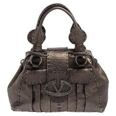 Valentino Metallic Grey Leather Crystal Embellished V Ring Frame Satchel