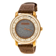 Valentino Metallic Grey Rose Gold Plated Histoire Women's Wristwatch 37 mm
