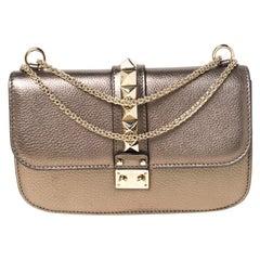 Valentino Metallic Leather Rockstud Medium Glam Lock Flap Bag