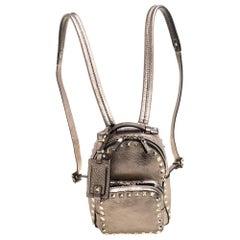 Valentino Metallic Light Brown Leather Mini Rockstud Backpack