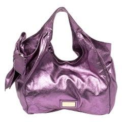 Valentino Metallic Purple Leather Nuage Bow Tote