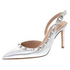 Valentino Metallic Silver Leather  D'orsay Slingback Pointed Toe Sandal Size36.5