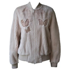 Valentino Mink-Fur Butterfly Embroidered Bomber Jacket