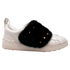 Valentino Mink-fur Rockstud low-top leather trainers - Size 38